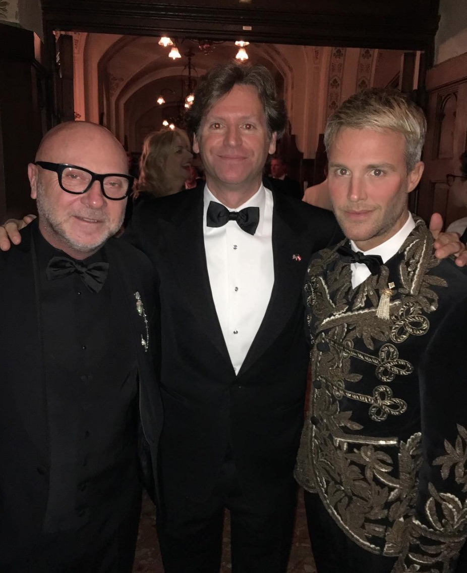Domenico Dolce , Trevor Traina, and Guilherme Siqueira at Traina's birthday party in Vienna