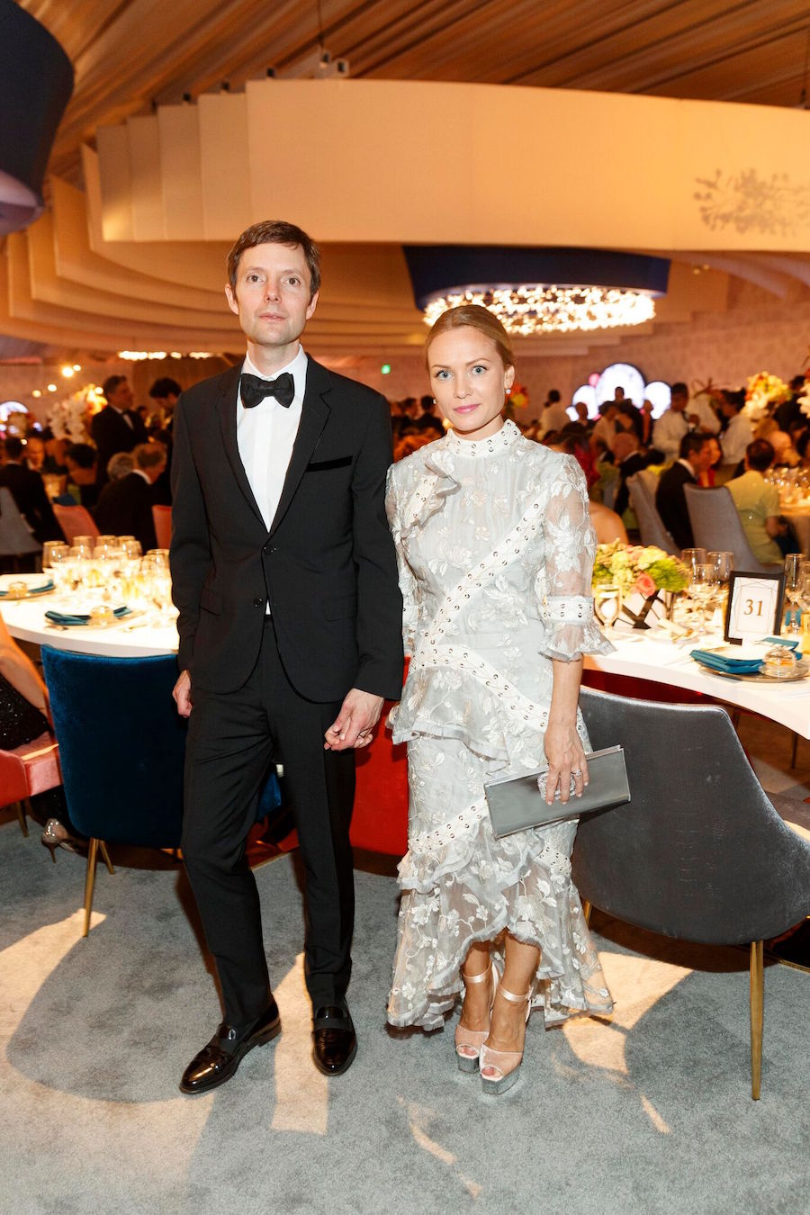 "Kinney says, ""Pia Cohler's Zimmerman dress was angelic, yet edgy and Matt looks polished and debonair."""