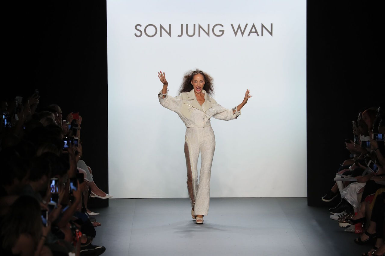 Cleveland walks Son Jung Wan's runway during New York Fashion Week in 2016