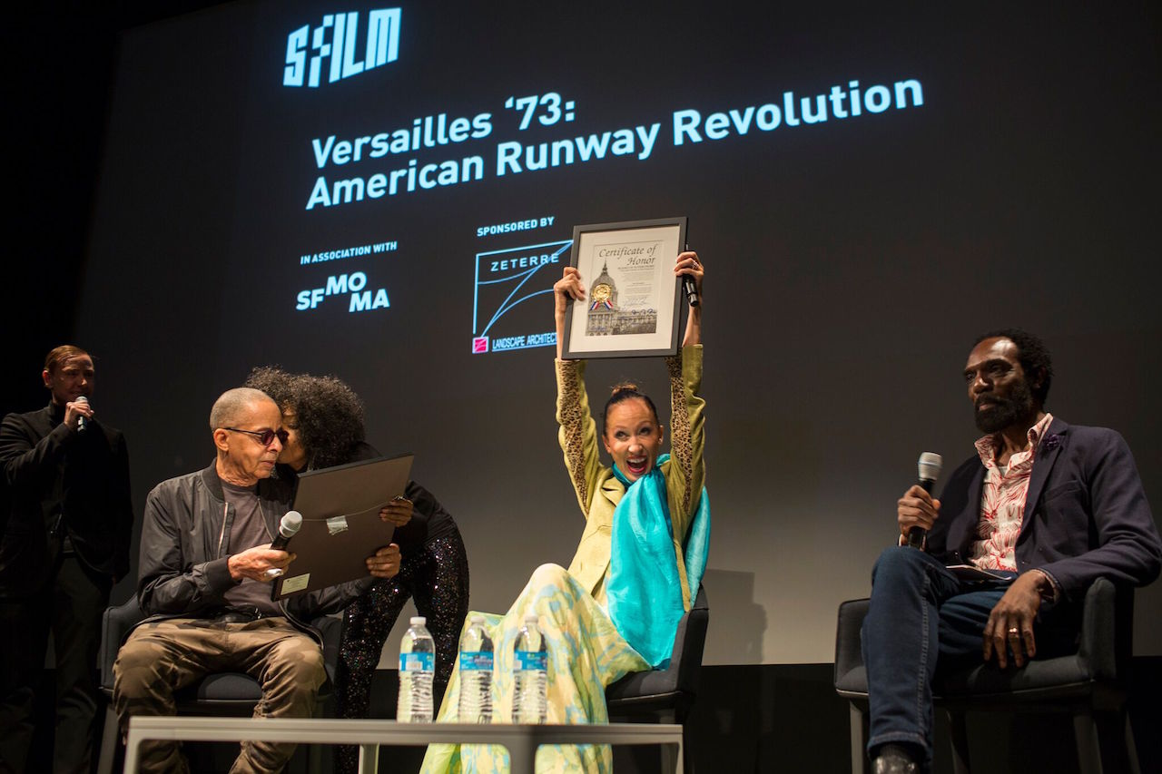 Stephen Burrows, Pat Cleveland, and Kevan Hall at the event