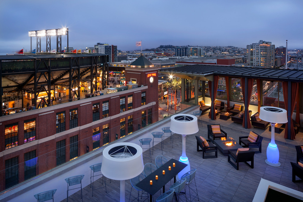 Via's rooftop overlooks AT&T Park