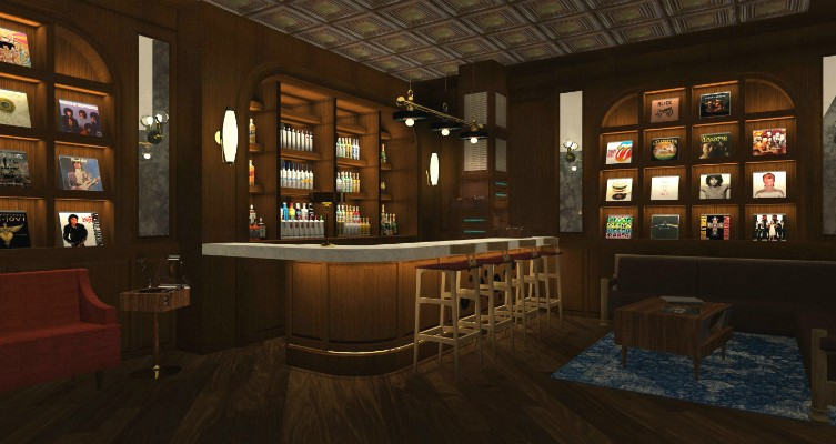 Rendering of the Vinyl Parlor hideaway inside On The Record.