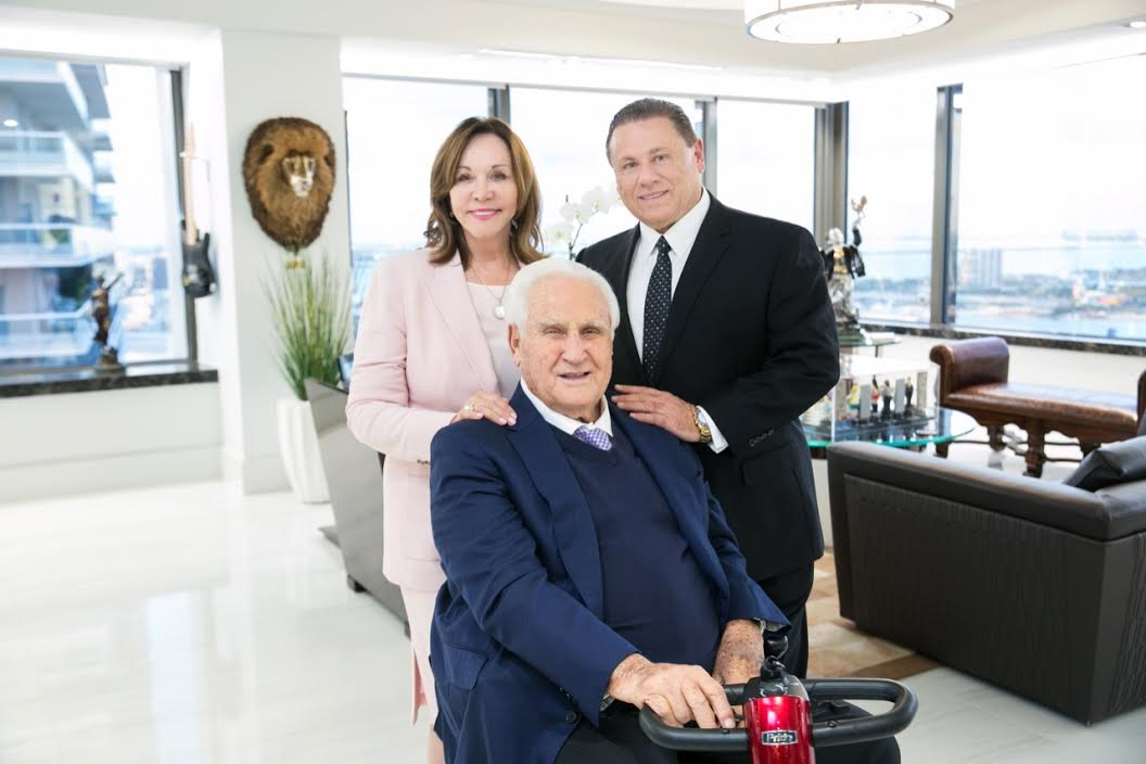 Robert Zarco, Don Shula and Mary Anne Shula at the firm's 25th anniversary party on November 8.