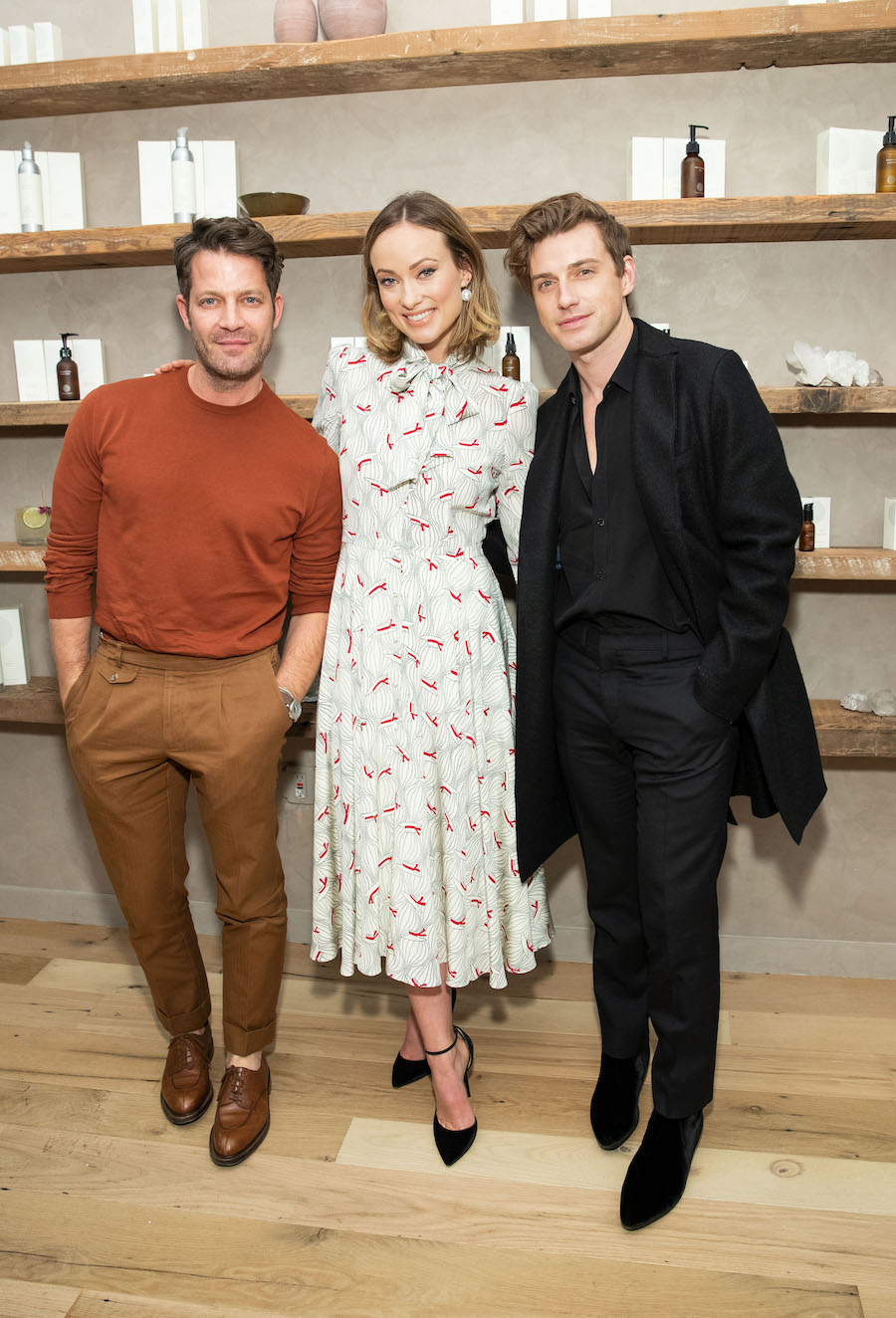 Nate Berkus, Olivia Wilde and Jeremiah Brent at the opening party