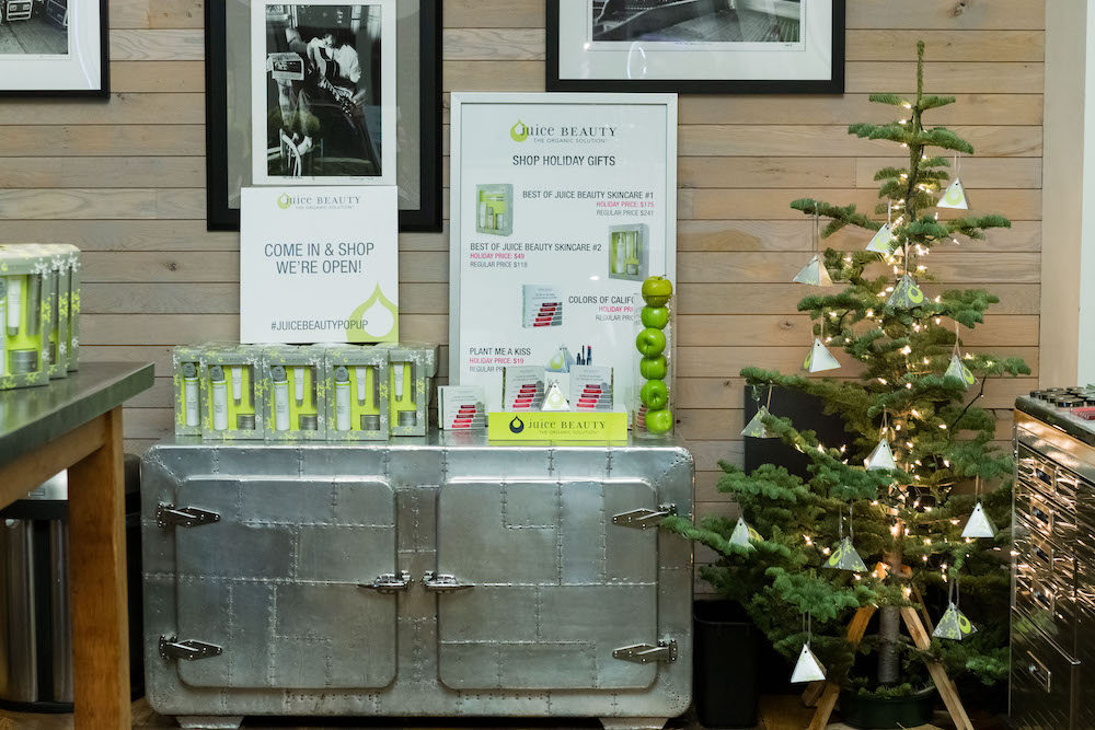 Juice Beauty's holiday pop up boutique at Hotel Zetta