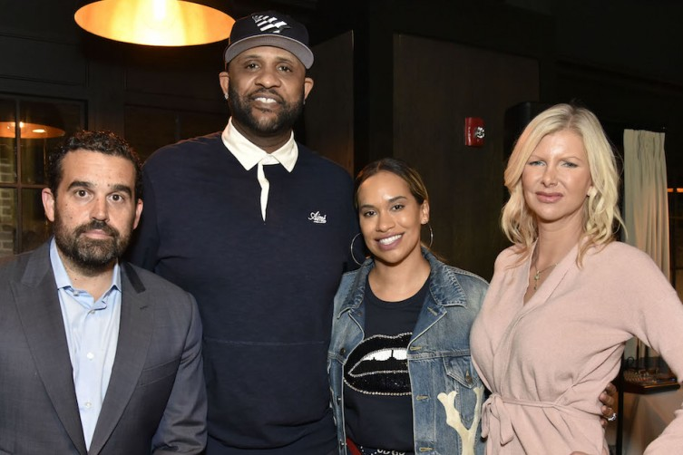 Seth Semiloff, CC Sabathia, Amber Sabathia and April Donelson attend the Amber And CC Sabathia Cheer On Team 52 Marathon With Haute Living, Armani Casa And Brooklyn Chophouse on November 3, 2018 in New York City.  (Photo by Eugene Gologursky/Getty Images for Haute Living)