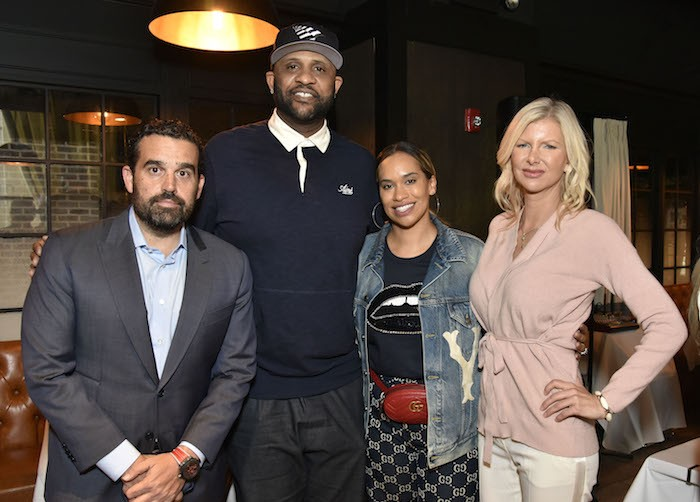 Seth Semiloff, CC Sabathia, Amber Sabathia and April Donelson attend the Amber And CC Sabathia Cheer On Team 52 Marathon With Haute Living, Armani Casa And Brooklyn Chophouse on November 3, 2018 in New York City.