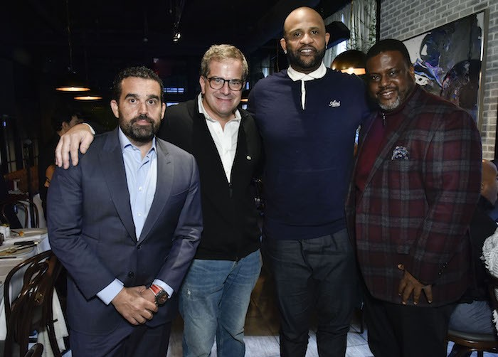 Seth Semilof, Stratis Morfogen, CC Sabathia and Robert Cummings attend Amber And CC Sabathia Cheer On Team 52 Marathon With Haute Living, Armani Casa And Brooklyn Chophouse on November 3, 2018 in New York City.