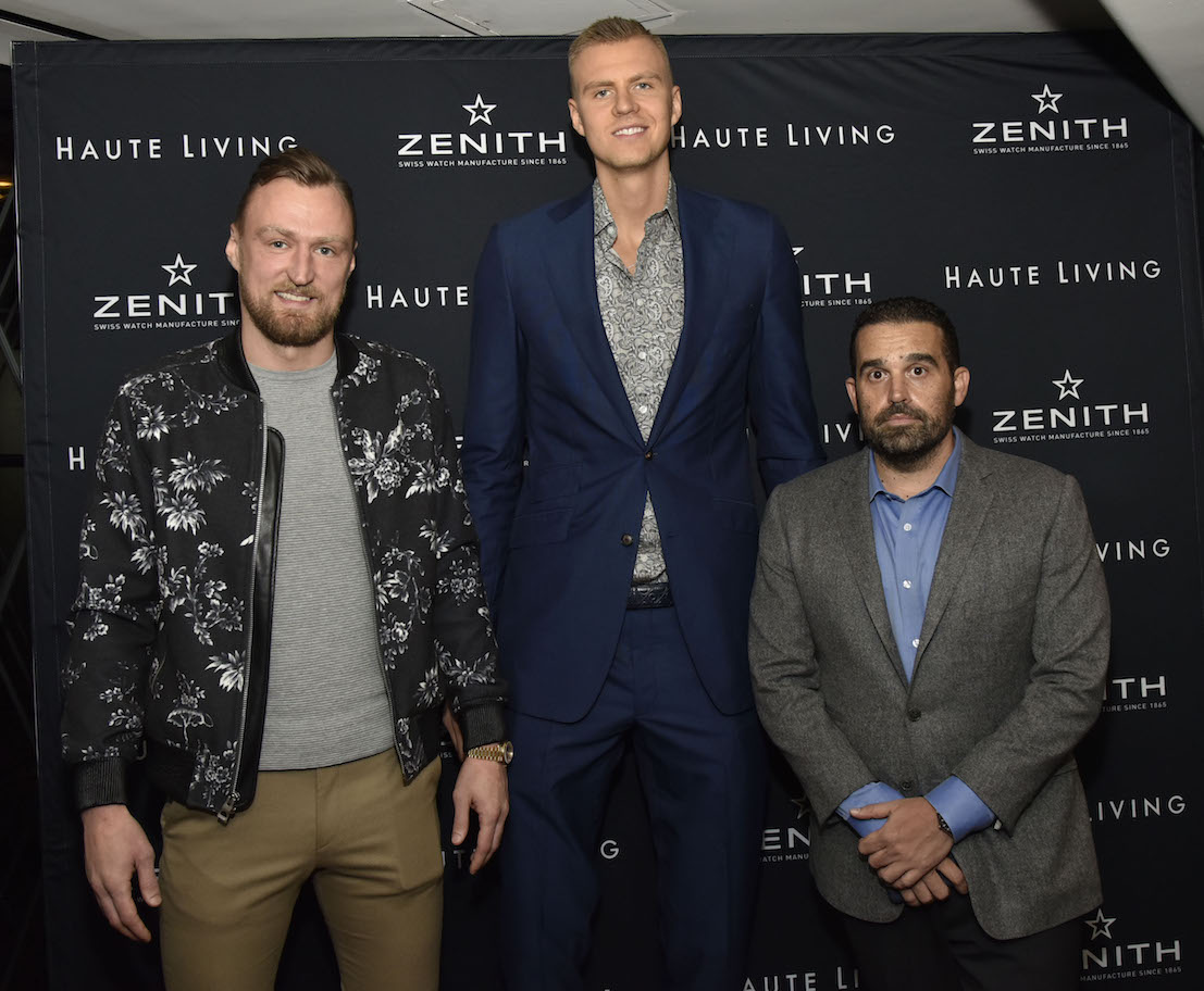 Martins Porzingis, Kristaps Porzingis and Seth Semilof attend the Haute Living And Zenith Honor Dolph Lundgren at Mr Chow in Tribeca on November 12, 2018 in New York City.