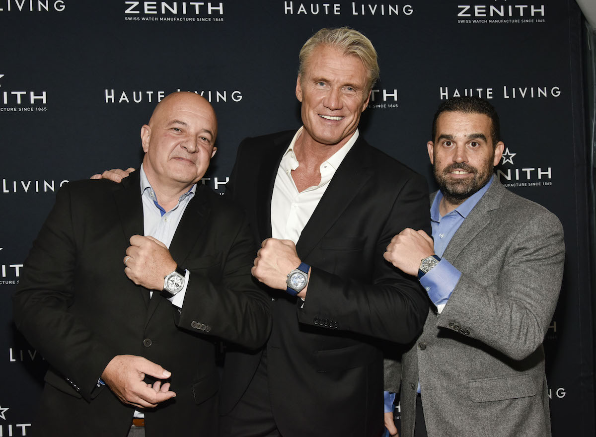 Thiery Collot, Dolph Lundgren and Seth Semilof attend the Haute Living And Zenith Honor Dolph Lundgren at Mr Chow in Tribeca on November 12, 2018 in New York City.