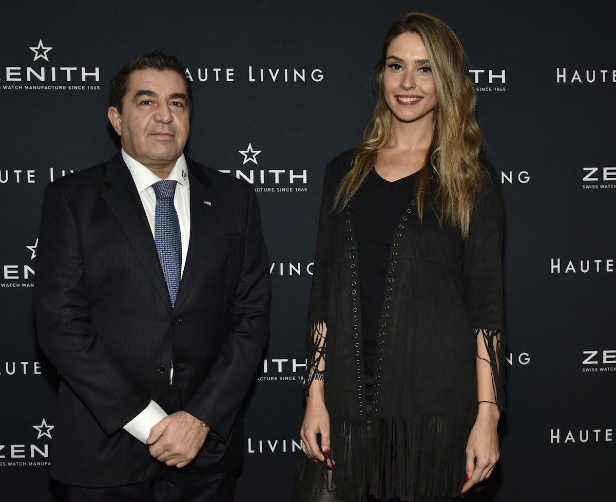 Paolo Zampolli and Amanda Ungaro attend the Haute Living And Zenith Honor Dolph Lundgren at Mr Chow in Tribeca on November 12, 2018 in New York City.
