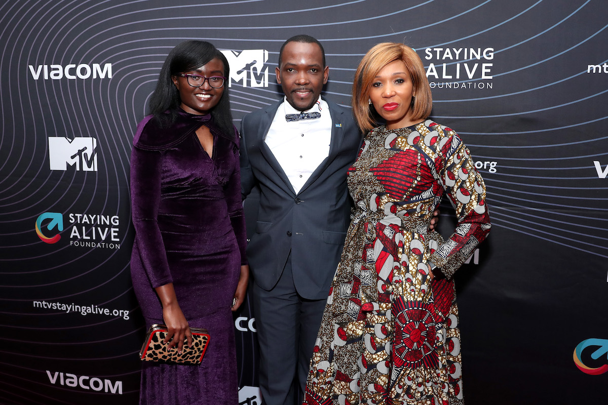Shirley Sabrina Oruko, Henry Luyombya, and Swati Dlamini-Mandela attend MTV Staying Alive Foundation 20th Anniversary Gala at Guastavino's on November 27, 2018 in New York City.