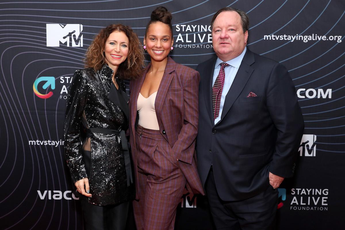 Georgia Arnold, Alicia Keys, and Bob Bakish attend the MTV Staying Alive Foundation 20th Anniversary Gala at Guastavino's on November 27, 2018 in New York City.