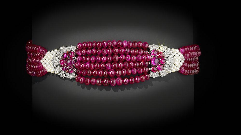 Patiala ruby choker, Cartier, Paris, 1931, restored and restrung by Cartier Tradition, Geneva, 2012