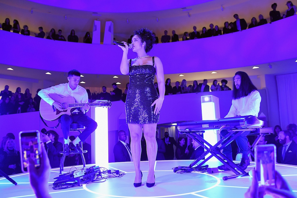 Jorja Smith performs onstage during the 2018 Guggenheim International Gala Pre-Party made possible by Dior at Solomon R. Guggenheim Museum on November 14, 2018 in New York City.
