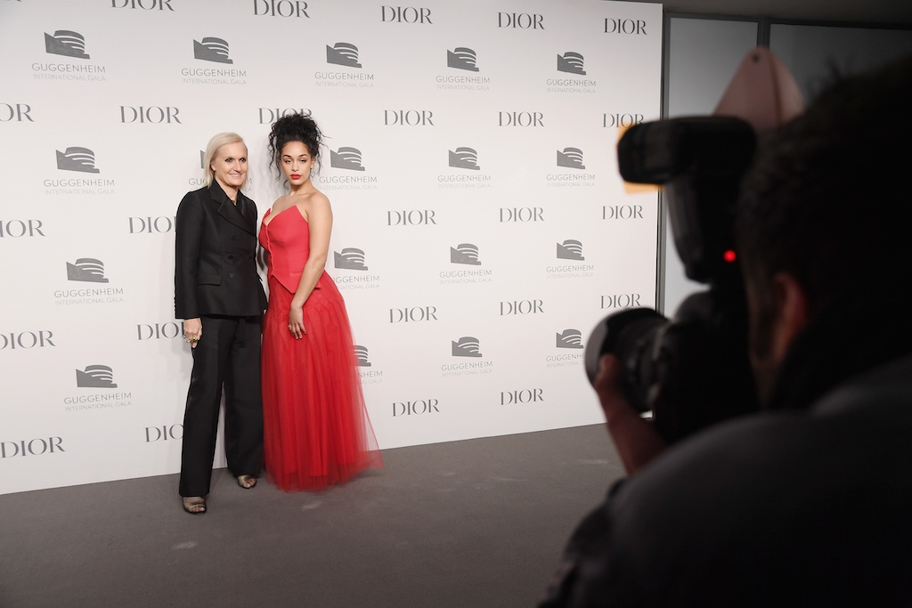 Maria Grazia Chiuri (L) and Jorja Smith attend the 2018 Guggenheim International Gala Pre-Party made possible by Dior at Solomon R. Guggenheim Museum on November 14, 2018 in New York City.