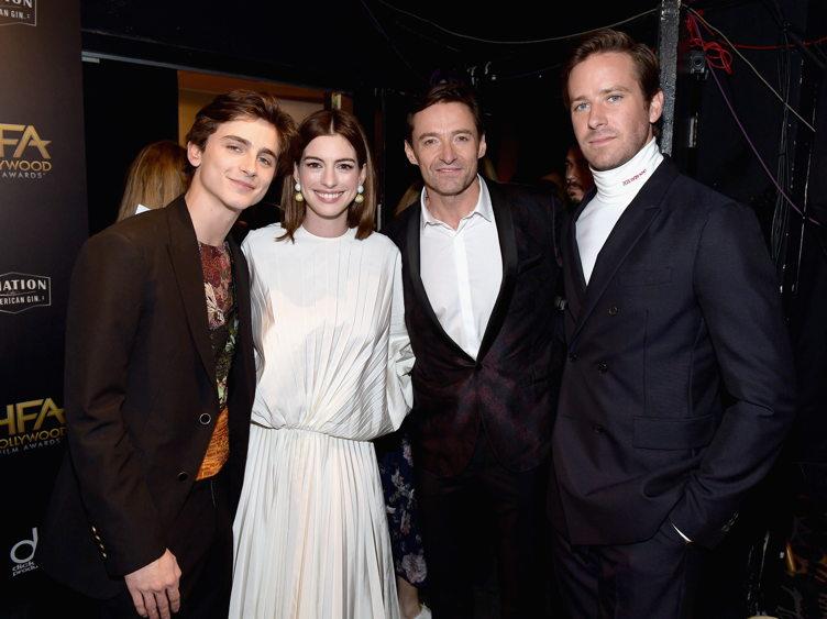 Timothee Chalamet, Anne Hathaway, Hugh Jackman, and Armie Hammer
