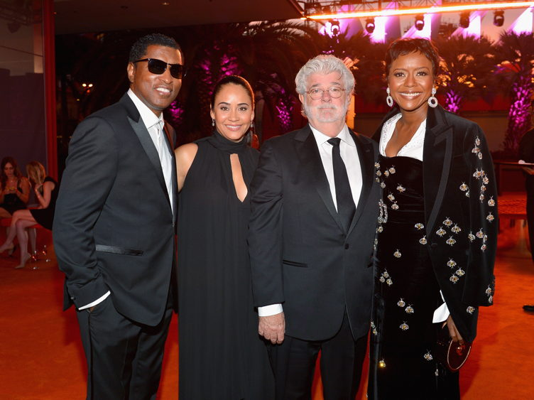 Musician Kenny Edmonds, Nikki Edmonds, director George Lucas, and Mellody Hobson