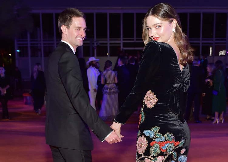 Snap Inc. CEO and co-founder Evan Spiegel and Miranda Kerr