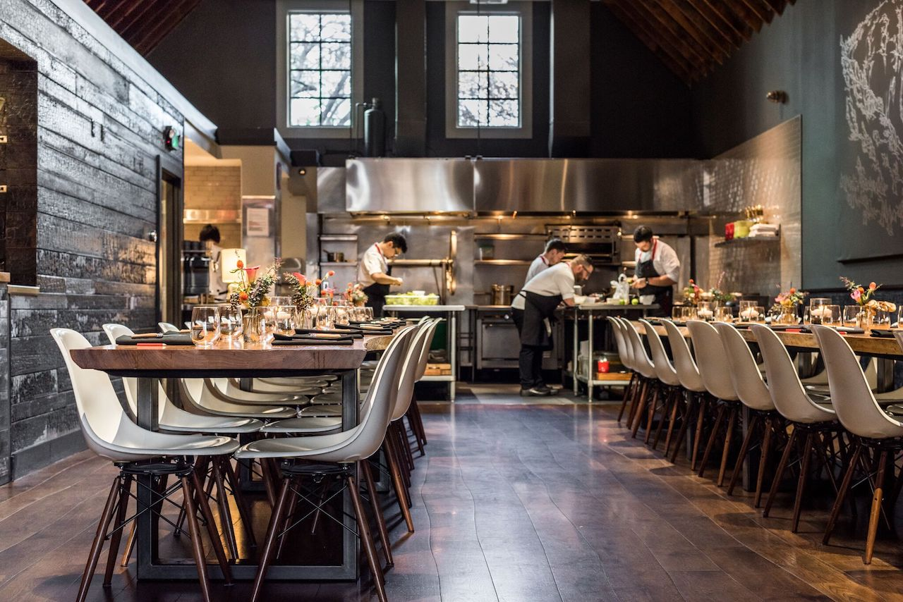 The open kitchen and dining room at Lazy Bear