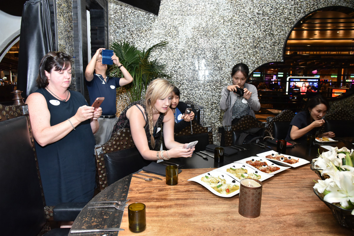 The food at Javier's in picture perfect for these guests with Lip Smacking Foodie Tours.