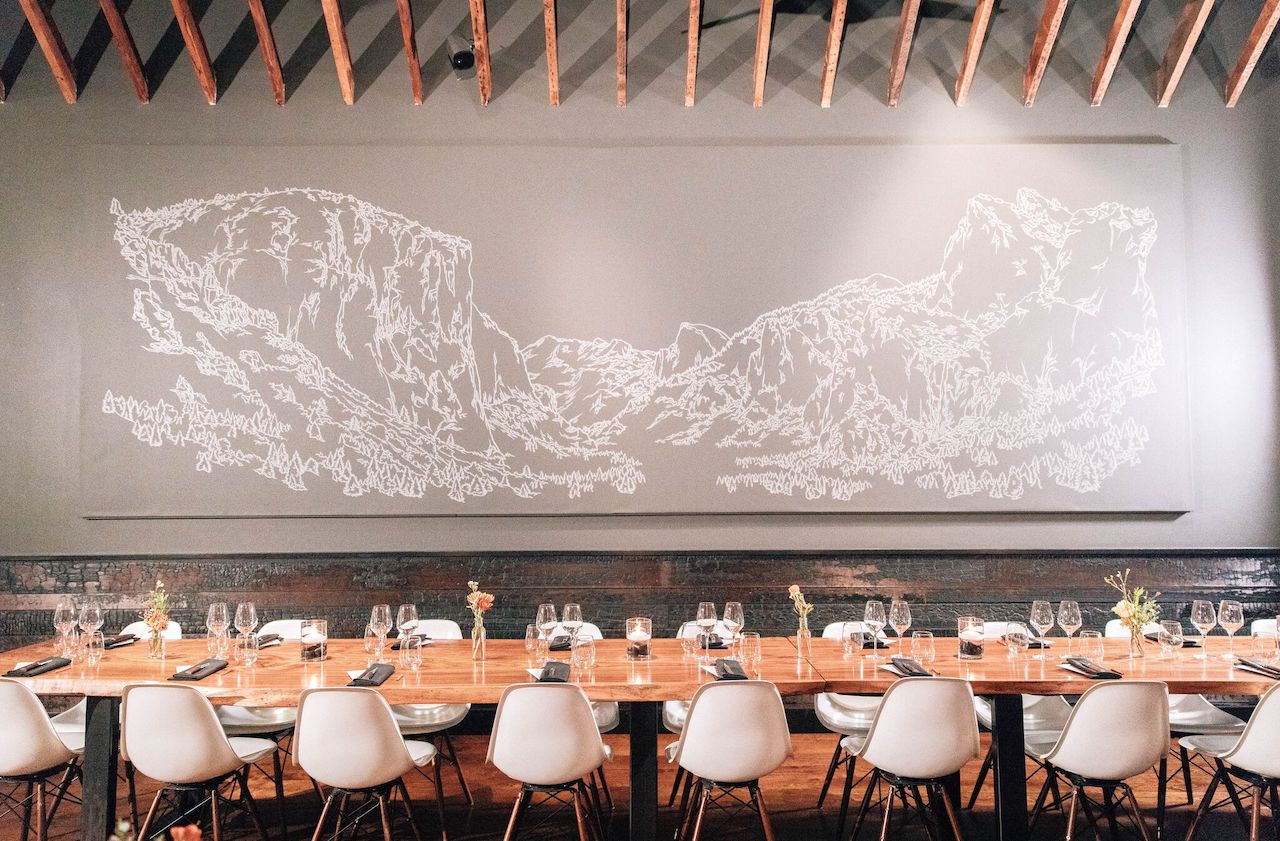 The Yosemite mural in Lazy Bear's dining room