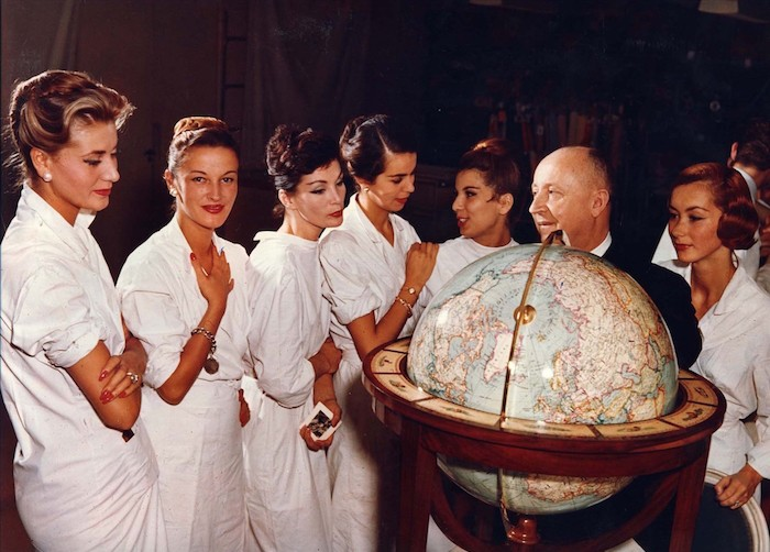Christian Dior with models, about 1955