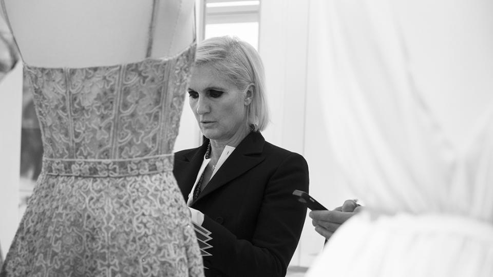 Maria Grazia Chiuri during a work session for her first collection at Dior, Ready-to-Wear Spring-Summer 2017.
