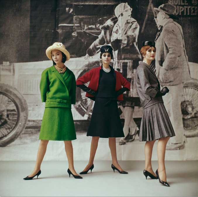 "Dior fashion models wearing ""Vert gazon,"" ""Gavroche,"" and ""Flirt"" ensembles (Spring-Summer Haute Couture collection, Slim Look line), 1961."