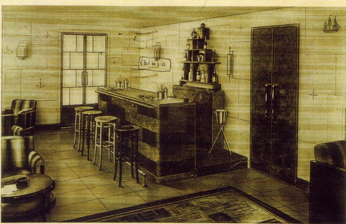 The original drawing of Harry's Bar in Venice, Italy.