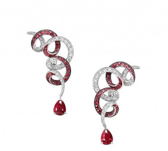 RGE1293_GE27897_pave_swirl_Pear_shape_diamond_ruby_drop_earrings