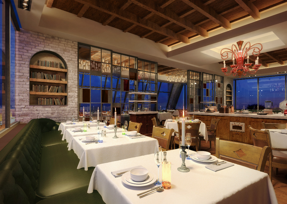 A rendering of the Vetri Las Vegas dining room at Palms Casino Resort.