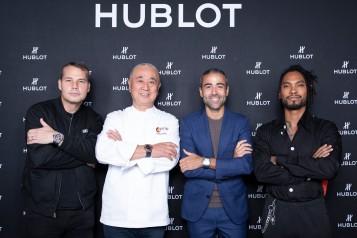 Shepard Fairey, Chef Nobu Matshusa, Jean-François Sberro and Miguel