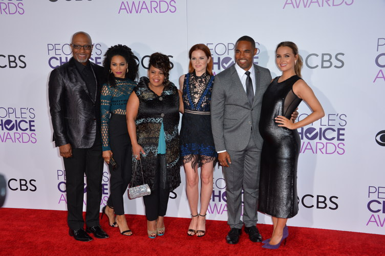 "George with former ""Grey's Anatomy"" co-stars James Pickens Jr, Kelly McCreary, Chandra Wilson, Sarah Drew and Camilla Luddington"