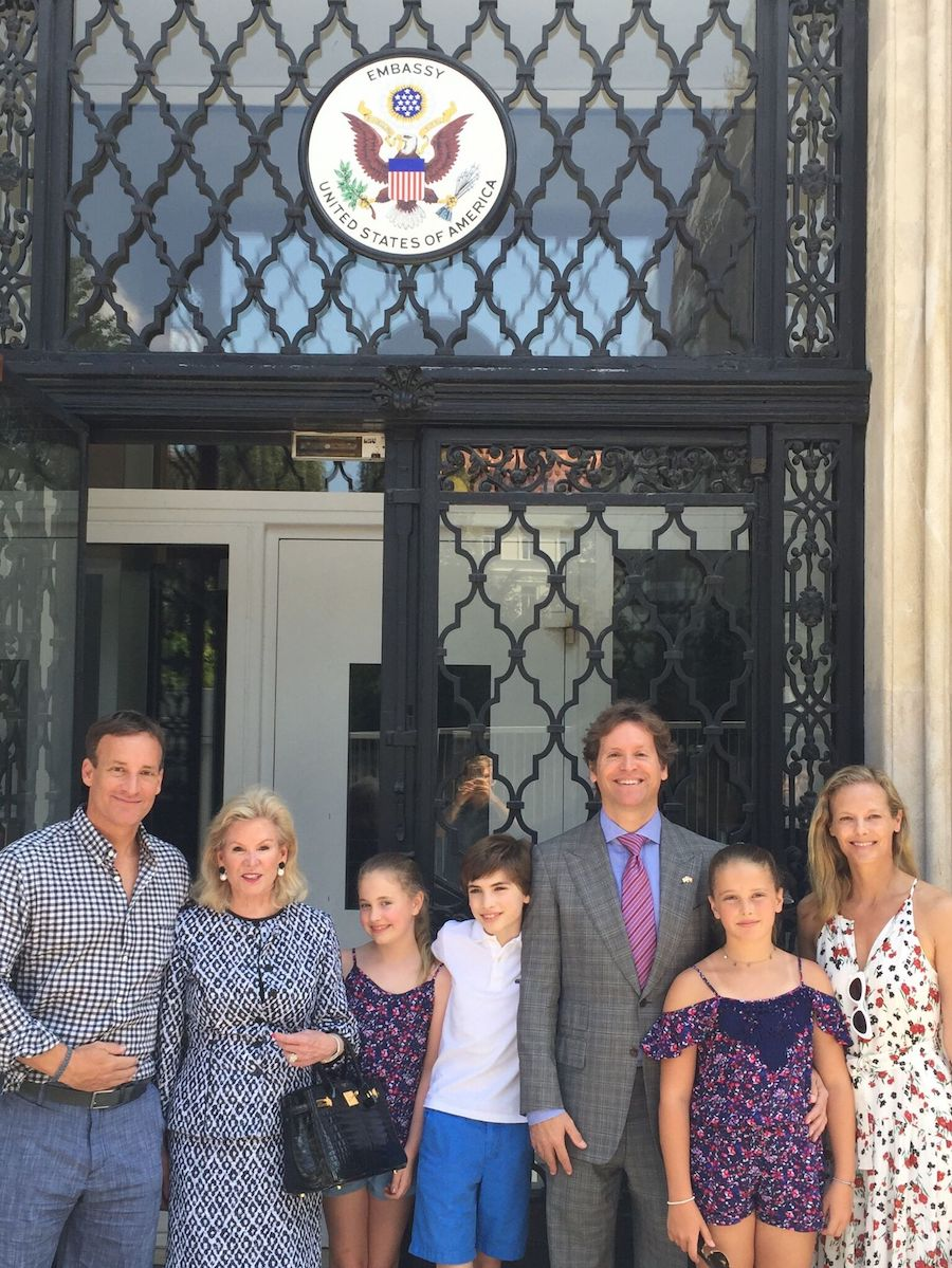 Todd, Wilsey, her grandchildren, Delphina, Johnny, Ambassador Traina, granddaughter Daisy, and Todd's wife Katie in Vienna