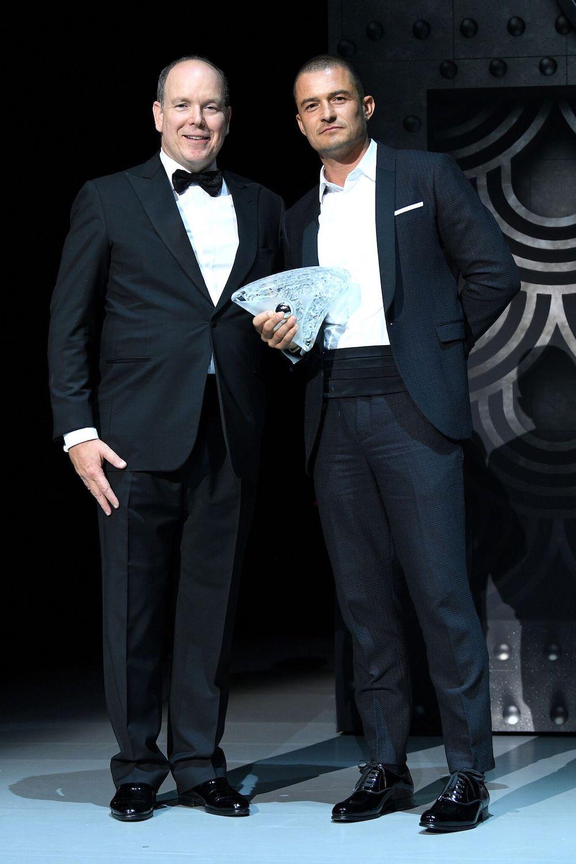 Prince Albert and 2018 award recipient Orlando Bloom