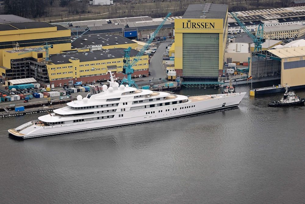 The largest yacht in the world, the 180-meter Azzam, at Lürssen's shipyard
