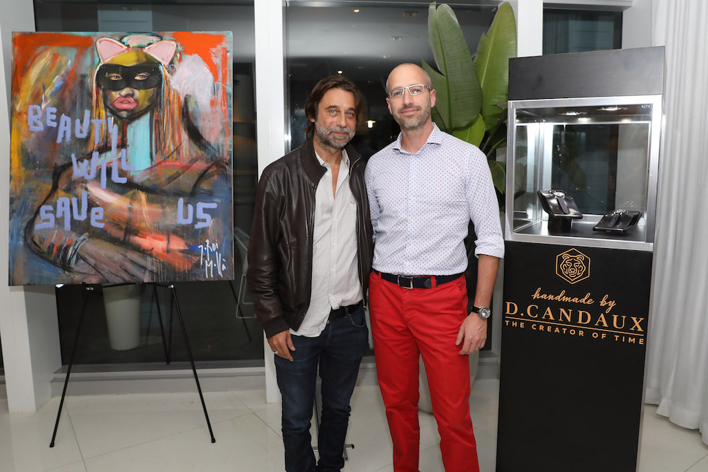 MIAMI, FL - DECEMBER 04: Jordi Molla and David Candaux attend Haute Living, JAJA Tequila, & D. Candaux Presents Jordi Molla Collectors Dinner At Mondrian Hotel With David Rosen Galleries at Mondrian South Beach on December 4, 2018 in Miami, Florida. (Photo by Aaron Davidson/Getty Images for Haute Living)