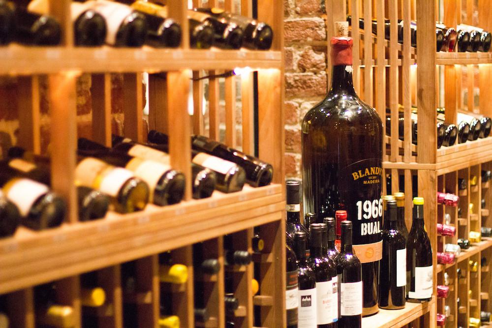The restaurant's wine cellar