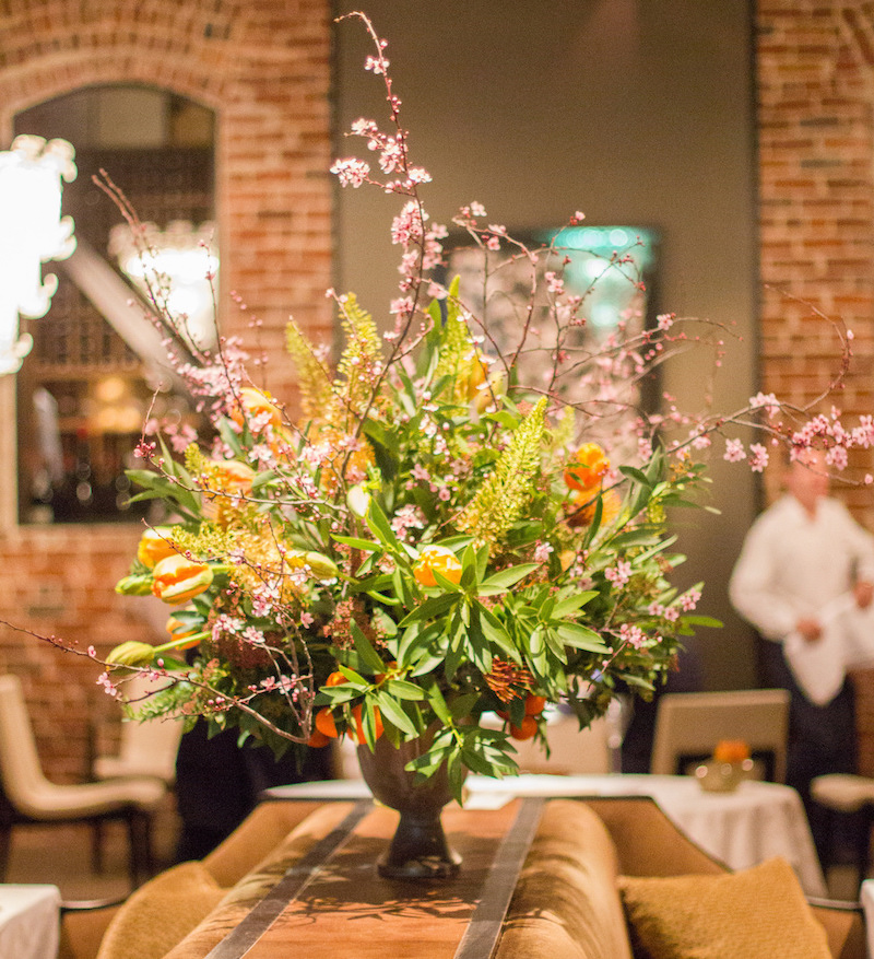 A floral arrangement at the eatery
