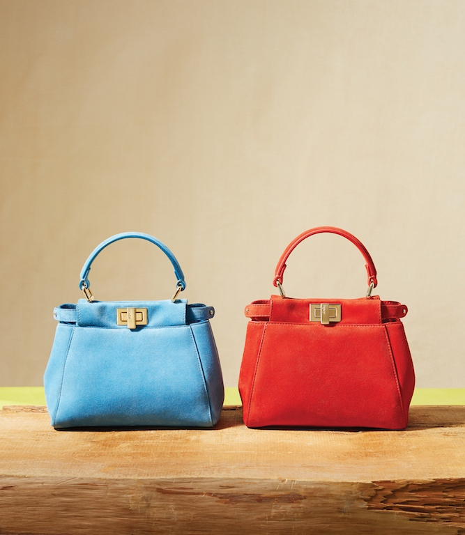 Blue Suede XS Peekaboo Handbag (L); Orange Suede XS Peekaboo Handbag, $3,190 each