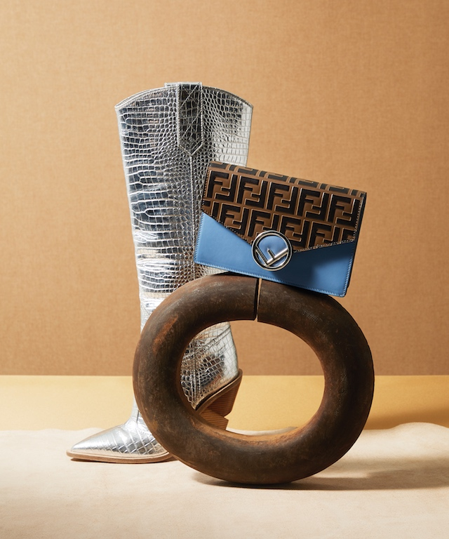 Silver Knee Length Crocodile Printed Leather Western Boot (L), $1,590; Blue Leather Wallet on Chain (R), $1,290