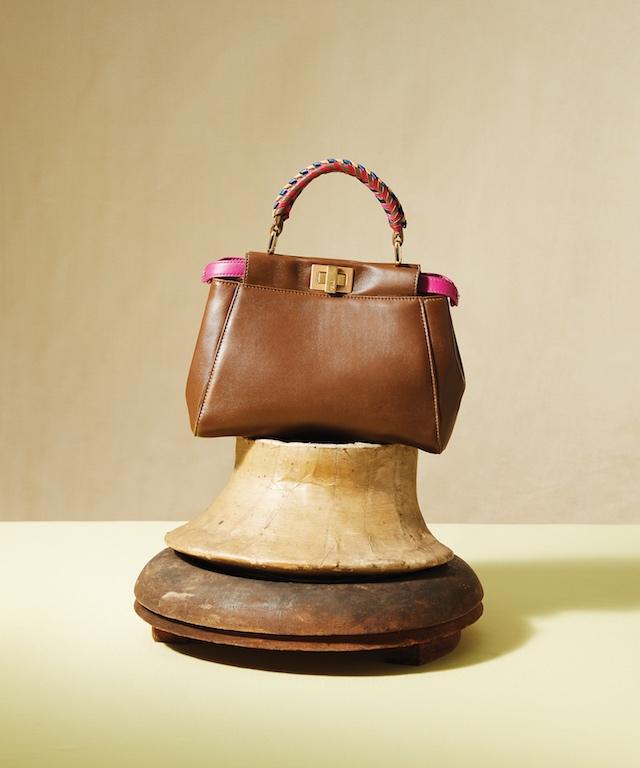 Brown Leather Peekaboo Mini Handbag with Woven Handle, $3,690