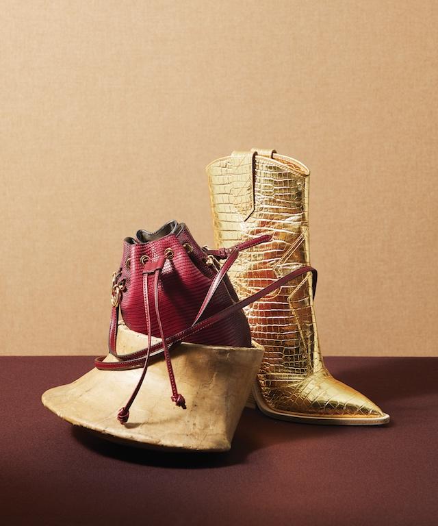 Red Leather Mon Tresor Handbag (L), $2,690; Gold Mid-Calf Crocodile Printed Leather Western Boot (R), $1,190