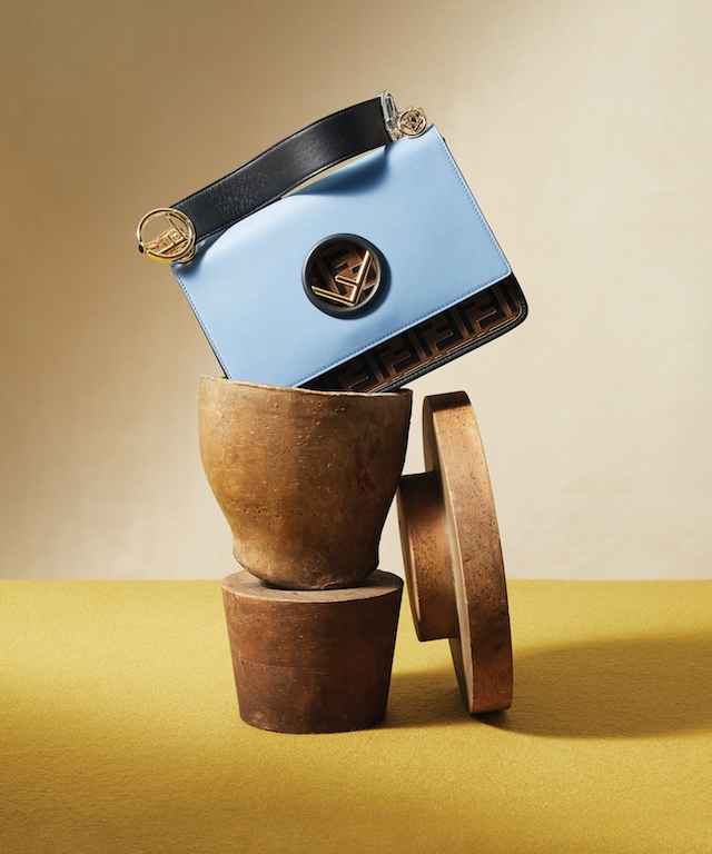 Blue FF Logo Leather Kan I Handbag, $2,890