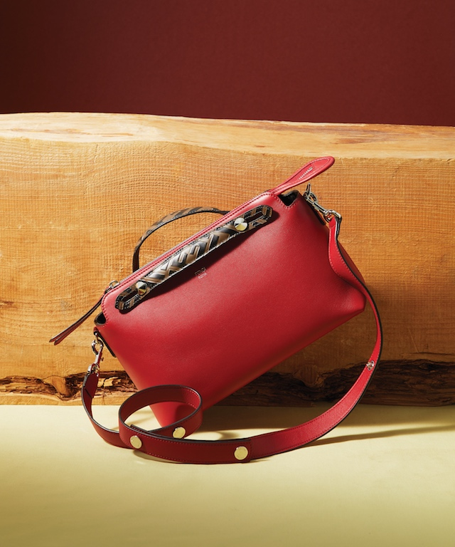 Black Studded Leather Mon Tresor Handbag (L), $1,690; Red Leather XS Peekaboo with Crystal Stars, $3,890Red Leather By The Way Medium Handbag, $1,790