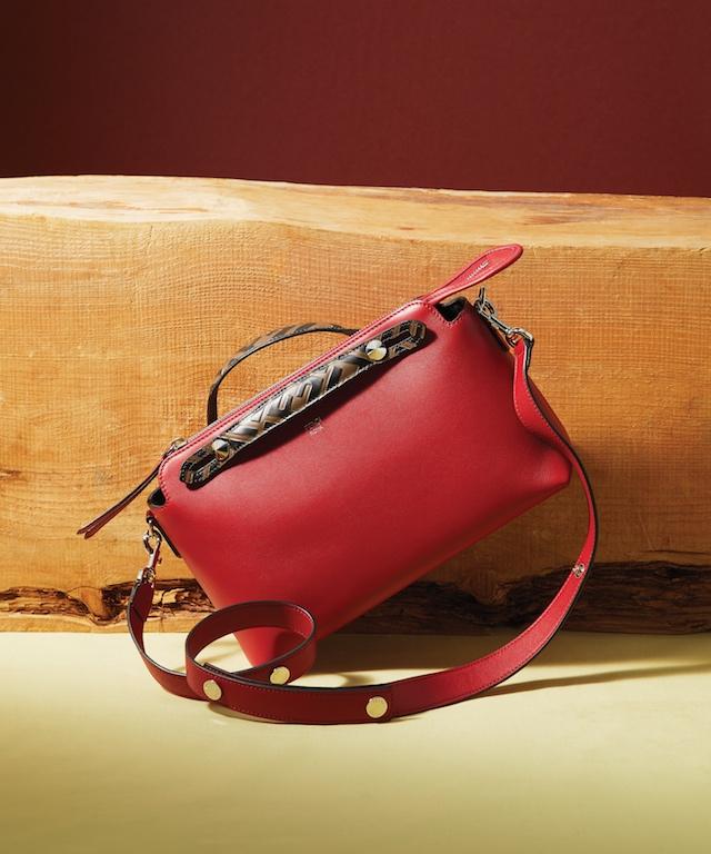 Black Studded Leather Mon Tresor Handbag (L), $1,690; Red Leather XS Peekaboo with Crystal Stars, $3,890Red Leather By The Way Medium Handbag, $1,790