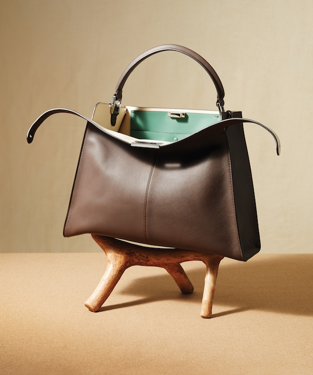 Grey Leather Peekaboo X-Lite Handbag, $4,550