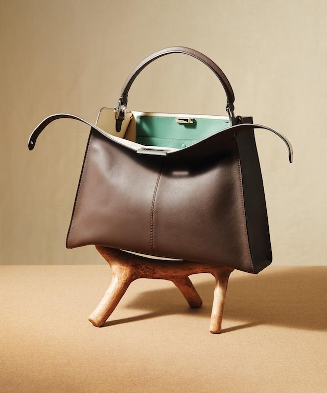 Grey Leather Peekaboo X-Lite Handbag, $4,550