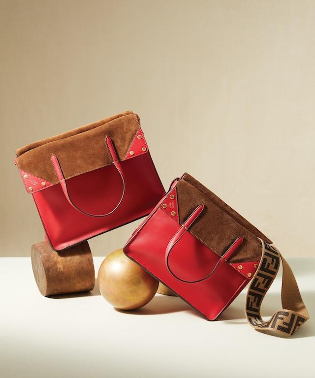 Red Fendi Flip Regular Handbag (L), $2,690; Red Leather Fendi Flip Small Handbag (R), $2,390